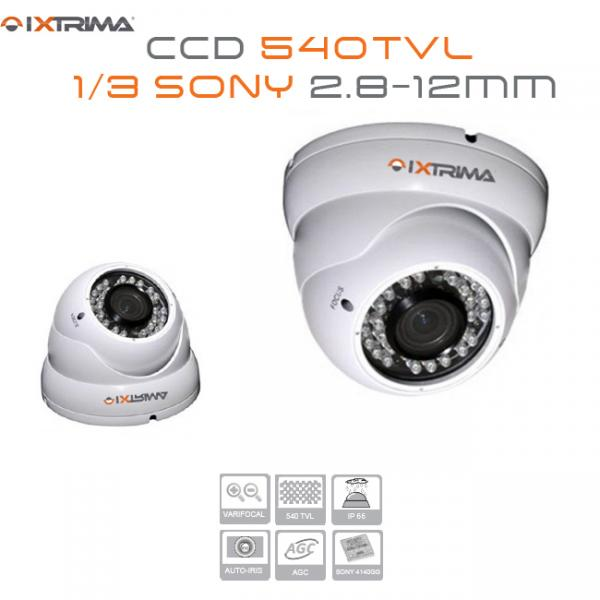 Telecamera dome ixtrima mr7510c2 ccd varifocale 1/3 sony 540 tvl 2.8-12mm 36 led
