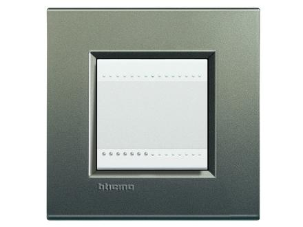 Placca bticino living international lna4802ae 2 posti grigio